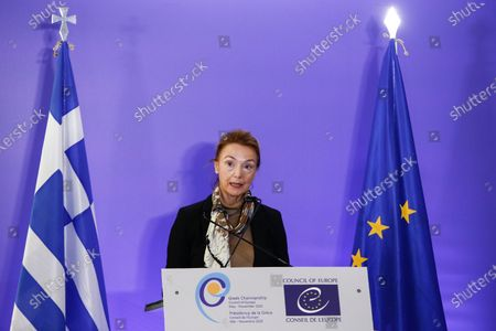 Secretary General of the Council of Europe Marija Pejcinovic Buric dellivers her speech during the 130th Session of the Committee of Ministers of Foreign Affairs of the Council of Europe, marking the 70th anniversary of the signing of the European Convention on Human Rights, in Athens, Greece, 04 November 2020.