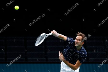 Daniil Medvedev of Russia in action during his second round match against Kevin Anderson of South Africa at the Rolex Paris Masters tennis tournament in Paris, France, 04 November 2020.