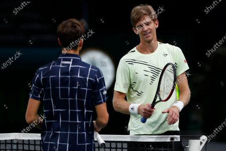 Kevin Anderson (R) of South Africa greets Daniil Medvedev (L) of Russia after withdrawing during their second round match at the Rolex Paris Masters tennis tournament in Paris, France, 04 November 2020.