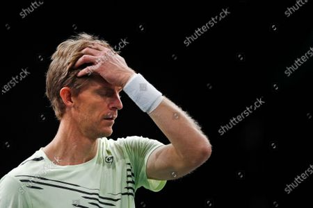 Kevin Anderson of South Africa reacts during his second round match against Daniil Medvedev of Russia at the Rolex Paris Masters tennis tournament in Paris, France, 04 November 2020.
