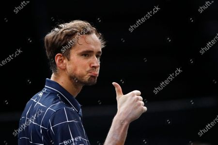 Daniil Medvedev of Russia reacts during his second round match against Kevin Anderson of South Africa at the Rolex Paris Masters tennis tournament in Paris, France, 04 November 2020.