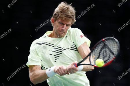 Stock Image of Kevin Anderson of South Africa in action during his second round match against Daniil Medvedev of Russia at the Rolex Paris Masters tennis tournament in Paris, France, 04 November 2020.