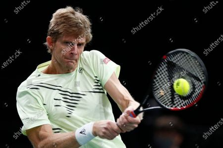 Kevin Anderson of South Africa in action during his second round match against Daniil Medvedev of Russia at the Rolex Paris Masters tennis tournament in Paris, France, 04 November 2020.
