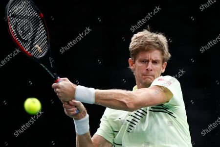 Stock Photo of Kevin Anderson of South Africa in action during his second round match against Daniil Medvedev of Russia at the Rolex Paris Masters tennis tournament in Paris, France, 04 November 2020.