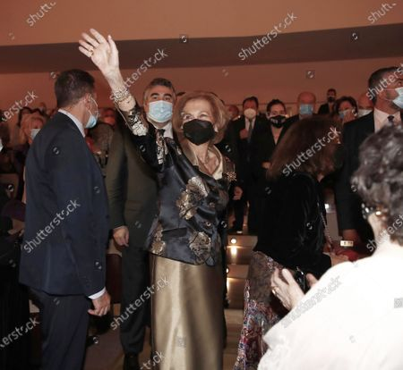 Former Queen Sofia attend the concert for the benefit of the annual scholarships for the extension of studies abroad of Juventudes musicales at the National auditorium of music in Madrid.