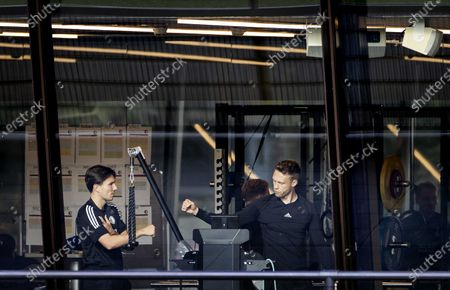 Feyenoord's Steven Berghuis and Nicolai Jorgensen (R) during a training session prior to the UEFA Europa League group K soccer match against CSKA Moscow at Training Complex 1908 in Rotterdam, The Netherlands, 04 November 2020.