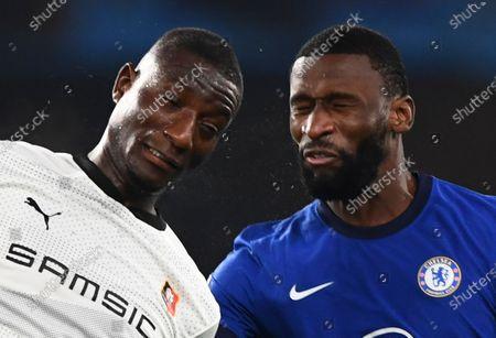 Sehrou Guirassy of Rennes and Antonio Rudiger of Chelsea