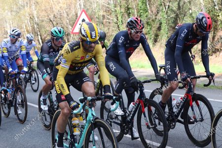 British rider Chris Froome (C) of Team Ineos in action during the 14th stage of the Vuelta a Espana 2020 cycling race, over 204.7km between Lugo and Ourense, Spain, 04 November 2020.