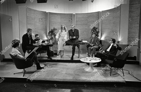 Terry Gilliam, Graham Chapman, Dick Vosburgh, Jenny Hanley, Frank Muir, Eric Idle, and Barry Cryer