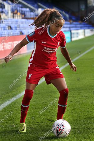 Portrait full length Liverpool forward Jessica Clarke (7) during the FA Women's Continental Cup match between Liverpool Women and Manchester City Women at the Prenton Park, Wirral