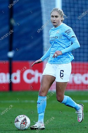 Manchester City defender Steph Houghton (6) Portrait full length during the FA Women's Continental Cup match between Liverpool Women and Manchester City Women at the Prenton Park, Wirral