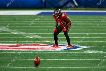 Tampa Bay Buccaneers safety Andrew Adams (26) in action during an NFL football game against the New York Giants, in East Rutherford, N.J