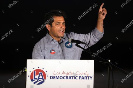 Congressman Jimmy Gomez of California's 34th Congressional District speaking during the Los Angeles County Democratic Party election night drive-in watch party at the LA Zoo parking lot on Tuesday, Nov. 3, 2020. (Myung J. Chun / Los Angeles Times)