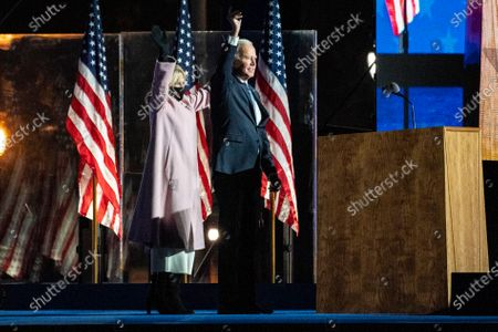 Democratic Candidate and former Vice President Joe Biden (R) and his wife Dr. Jill Biden (L) greet attendees during his Election Night event at the Chase Center in Wilmington, Delaware, USA, early 04 November 2020. The 2020 Presidential Election result remains undetermined as poll workers continue to count ballots in several key battleground states.
