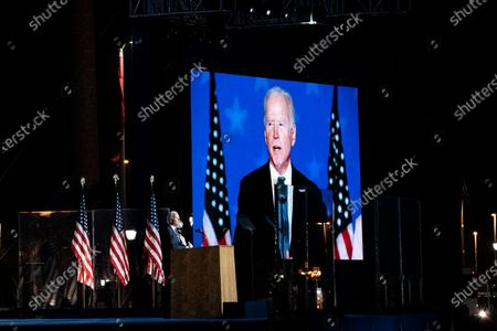 Democratic Candidate and former Vice President Joe Biden (L) speaks as he stands with his wife Dr. Jill Biden (R) at his Election Night event at the Chase Center in Wilmington, Delaware, USA, early 04 November 2020. The 2020 Presidential Election result remains undetermined as poll workers continue to count ballots in several key battleground states.