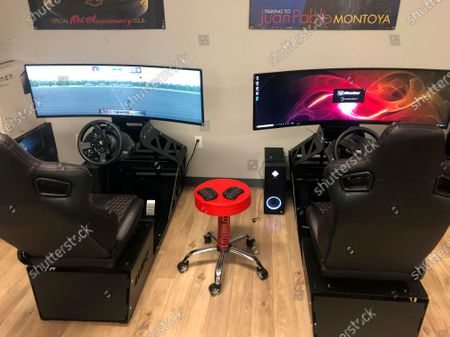 Stock Image of Race simulators donated by former NASCAR driver Kyle Larson are seen at the Urban Youth Racing School, in Philadelphia. The school has made it its mission to introduce inner-city youngsters, most of them black, to the motorsports world