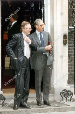 Politicians John Gummer John Selwyn Gummer And Sir Tim Sainsbury Pictured Outside No.10 Downing Street In 1993.