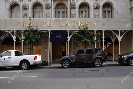 Stock Photo of Boarded-up Ralph Lauren along Madison Avenue in New York City.