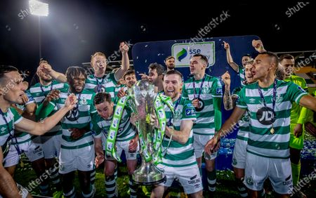 Shamrock Rovers vs St. Patrick's Athletic. Shamrock Rovers Jack Byrne lifts the SSE Airtricity League Premier Division trophy