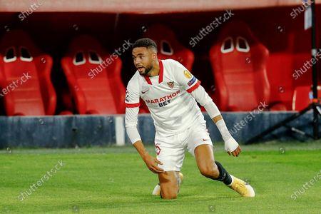 Youssef En Nesyri of Sevilla FC celebrates his goal