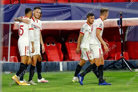 Youssef En Nesyri of Sevilla FC celebrates his goal with his teammates