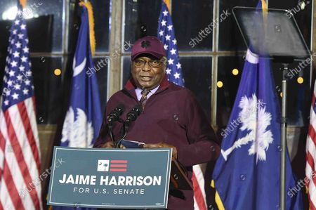 Democratic Rep. Jim Clyburn-S.C. speaks at a watch party for Democratic Senate candidate Jamie Harrison in Columbia, S. C