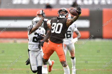 Cleveland Browns wide receiver Jarvis Landry (80) makes a one-handed catch beside Las Vegas Raiders free safety Lamarcus Joyner (29) during an NFL football game, in Cleveland. The Raiders won 16-6