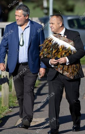 Former New Zealand All Blacks rugby player Zinzan Brooke (L) arrives for the funeral of police Sgt Matt Ratana at a funeral directors in Shoreham, West Sussex. Family members were joined by police colleagues including Metropolitan Police Commissioner Cressida Dick. A traditonal Maori Haka was performed during the service. Sgt Ratana died from a gunshot wound to the chest in the early hours of September 25 at Croydon custody centre.