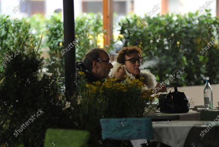 Roberto Benigni and Nicoletta Braschi are seen going out for lunch.