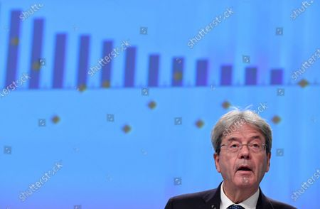 European Commissioner for Economy Paolo Gentiloni delivers a press conference presenting the Autumn 2020 Economic Forecasts at the EU headquarters, Brussels, 05 November 2020.