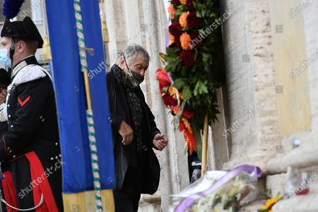 Funeral of Gigi Proietti, the actor Maurizio Mattioli attends the funeral in Piazza del Popolo at the Basilica of Santa Maria in Montesanto, called 'Church of the artists'