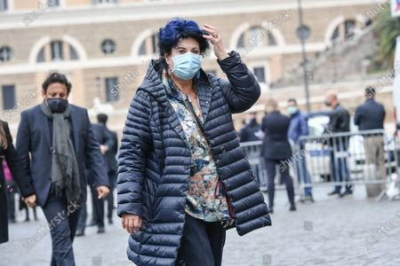 Funeral of Gigi Proietti, the actress Marisa Laurito attends the funeral in Piazza del Popolo at the Basilica of Santa Maria in Montesanto, called 'Church of the artists'