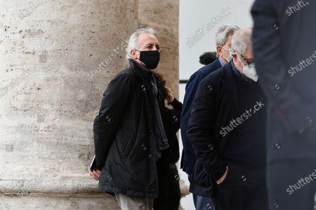 Funeral of Gigi Proietti, the journalist Marco Travaglio attends the funeral in Piazza del Popolo at the Basilica of Santa Maria in Montesanto, called 'Church of the artists'