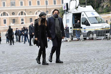 Funeral of Gigi Proietti, actor Enrico Brignano attends the funeral in Piazza del Popolo at the Basilica of Santa Maria in Montesanto, called 'Church of the artists'