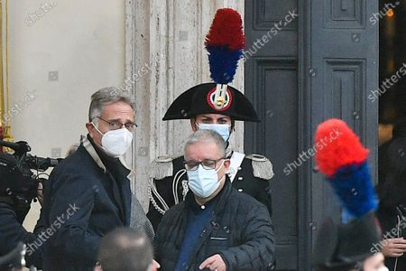 Stock Photo of Funeral of Gigi Proietti, the tv host Paolo Bonolis attends at the funeral in the Basilica of Santa Maria in Montesanto, called 'Church of the artists' in Piazza del Popolo