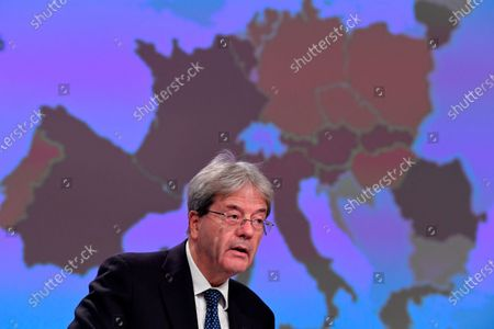 European Commissioner for Economy Paolo Gentiloni addresses a media conference on Autumn 2020 Economic Forecast at EU headquarters in Brussels