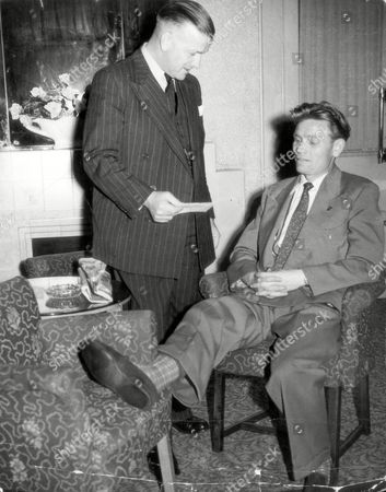 Injured Footballer Charlie Crowe Newcastle United's Left-half Pictured Chatting To Newcastle United Manager Dugald Livingstone In The Lounge Of The Adelphi Hotel In Brighton.