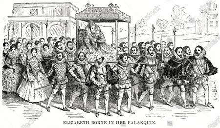 Elizabeth Borne in her Palanquin, Illustration, Ridpath's History of the World, Volume III, by John Clark Ridpath, LL. D., Merrill & Baker Publishers, New York, 1897