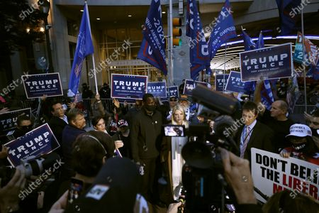 Former Florida Attorney General Pam Bondi speaks on behalf of President Donald Trump's campaign outside the Pennsylvania Convention Center where votes are being counted, in Philadelphia, following Tuesday's election