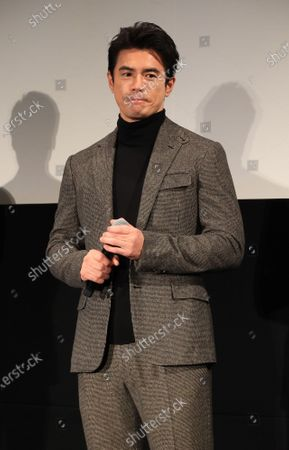 """Japanese actor Hideaki Ito attends a promotional event of Bandai Spirits' """"Chogokin"""" die-cast metal figures exhibition """"Tamashii Nation 2020"""" in Tokyo on Thursday, November 5, 2020. Japanese toy giant Bandai's subsidiary Bandai Spirits unveiled the new figure collections targeting adult."""