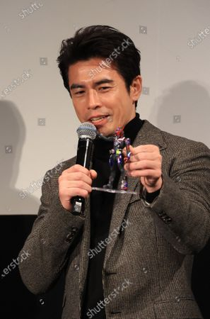 """Stock Picture of Japanese actor Hideaki Ito attends a promotional event of Bandai Spirits' """"Chogokin"""" die-cast metal figures exhibition """"Tamashii Nation 2020"""" in Tokyo on Thursday, November 5, 2020. Japanese toy giant Bandai's subsidiary Bandai Spirits unveiled the new figure collections targeting adult."""