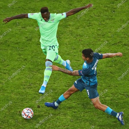 Zenit player Wilmar Barrios (right) and Lazio player Felipe Caicedo (left) during the match.November 04, 2020. Russia, St Petersburg