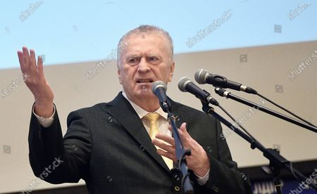 Russia's National Unity Day. Leader of the Liberal Democratic Party of Russia (LDPR) Vladimir Zhirinovsky during a festive meeting with LDPR activists and students of the Institute of World Civilizations in the assembly hall of the Institute of World Civilizations.November 04, 2020. Russia, Moscow