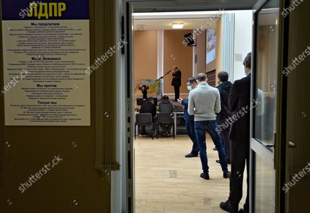 Russia's National Unity Day. A festive meeting of the State Duma deputies from the Liberal Democratic Party of Russia (LDPR), led by party leader Vladimir Zhirinovsky, with party activists and students of the Institute of World Civilizations.November 04, 2020. Russia, Moscow