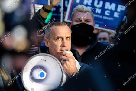 Trump campaign advisor Corey Lewandowski speaks at the Pennsylvania Convention Center as Americans await the results of the 2020 Presidential Election, Thursday, Nov. 5, 2020, in Philadelphia, PA.