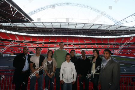 Tom Daley Jr Badrick Rachael Latham Emile Pidgeon Shanaze Reade Gilkes Scott And Louis Smith With Olympic Gold Medalist Jason Gardener And Rugby Player Jason Robinson At Wembley. The Daily Mail's Magnificent 7 Olympic Hopefuls