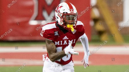 Miami (Oh) Redhawks wide receiver James Burns (19) during an NCAA football game against the Ball State Cardinals on in Oxford, Ohio