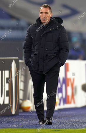 Leicester's manager Brendan Rodgers reacts during the UEFA Europa League group G soccer match between Leicester City and Sporting Braga in Leicester, Britain, 05 November 2020.