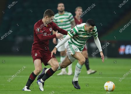 Tom Rogic (R) of Celtic in action against Ladislav Krejci (L) of Sparta during the UEFA Europa League group H match between Celtic Glasgow and Sparta Prague in Glasgow, Britain, 05 November 2020.