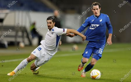 Stock Picture of Liberec's Martin Koscelnik (L) in action against Hoffenheim's Sebastian Rudy (R) during the UEFA Europa League group L soccer match between TSG 1899 Hoffenheim and FC Slovan Liberec in Sinsheim, Germany, 05 November 2020.